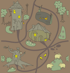 Funny houses paths clearings lamb chicken vector