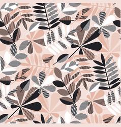 Geometric elegant autumn leaves seamless pattern vector