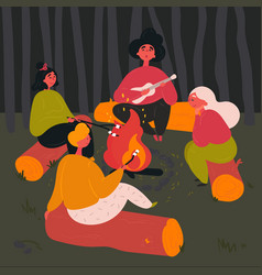 group people near camp fire with campfire song vector image