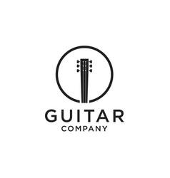 guitar logo design vector image