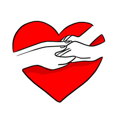 hand of lover holding on red heart shape vector image