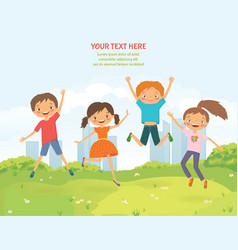 happy jumping children in summer city vector image