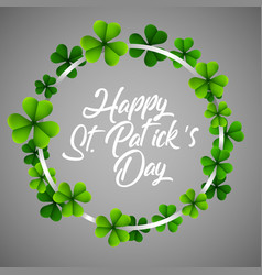 happy stpatricks day in a circle clover vector image