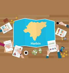 Harbin capital heilongjiang province china city vector