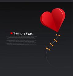 heart kite on dark background vector image