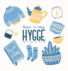 Hygge concept with colorful hand lettering vector