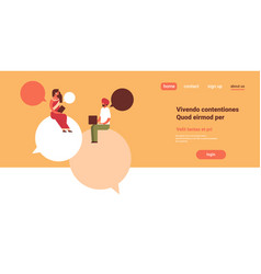 Indian couple sitting chat bubbles communication vector