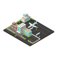 Isometric airport exterior concept vector