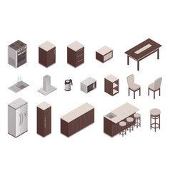 isometric elements of kitchen interior vector image