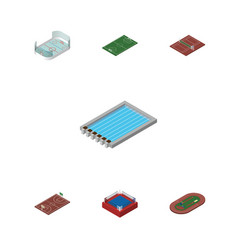 Isometric sport set of b-ball fighting run vector