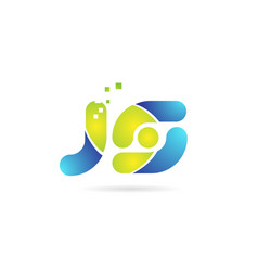 Js j s blue green combination alphabet letter vector