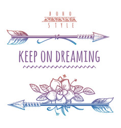Keep on dreaming colorful bohemian print vector