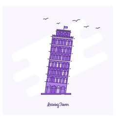 leaning tower landmark purple dotted line skyline vector image