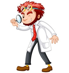 Mad scientist with magnifying glass vector