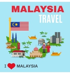 Malaysia Culture Travel Agency Flat Poster vector image