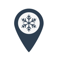 map location icon with snowflake vector image