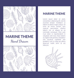 marine theme banner template with place for text vector image