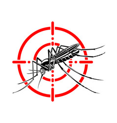 Mosquito in red crosshairs insecticide stop vector