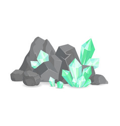 Natural resources crystals among rocks and stones vector