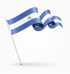 Nicaraguan pin wavy flag vector