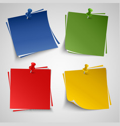 Note color paper with push colored pin template vector image