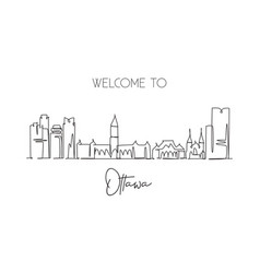 one continuous line drawing ottawa city skyline vector image