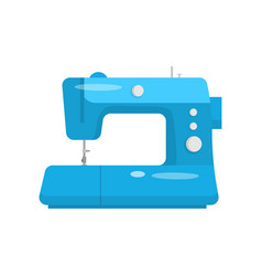 Professional sewing machine in blue case for home vector