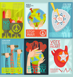 Propaganda posters set vector