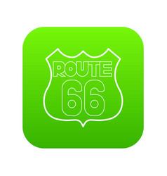 Route 66 shield icon green vector