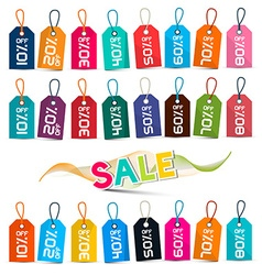 Sale Tags - Colorful Labels Set Isolated on White vector image