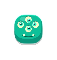 Satisfied monster square icon vector