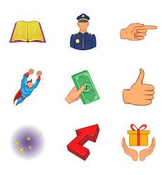 Senior positions icons set cartoon style vector