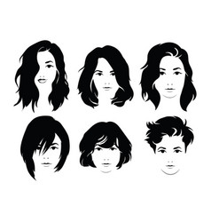 set hairstyles for women collection black vector image