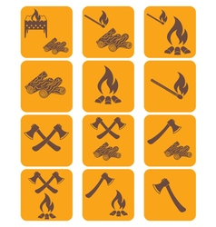 Set of campfire ax firewood icons vector image