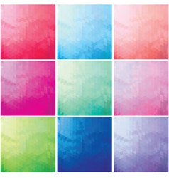 set of colorful mosaic background of triangles vector image