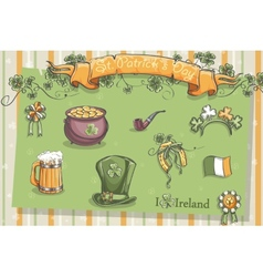 Set of different items for St Patrick vector image