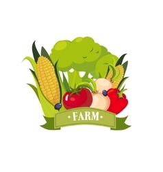Set Of Fresh Vegetables With Banner Saying Farm vector
