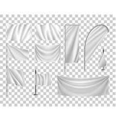 set white flags banners streamers transparent vector image