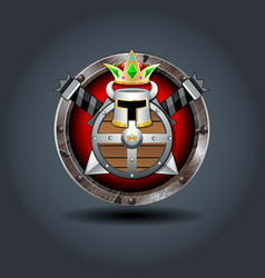 Shield swords crown and helm rusty iron rounded vector
