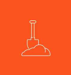 Shovel in dirt icon linear vector