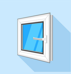 square plastic window with blue sky glass icon vector image