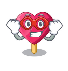 super hero heart character ice cream on candy vector image