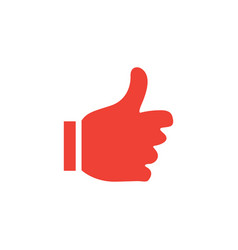 thumbs up red icon on white background red flat vector image