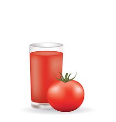 Tomato juice with whole tomato vector