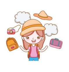 traveler with travel elements vector image