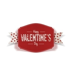 Valentines Day Label with Text and white Ribbon vector