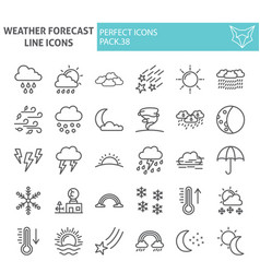 weather forecast line icon set climate symbols vector image