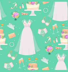 Wedding bride dress accessories fashion vector