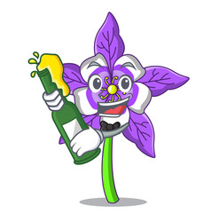 With beer columbine flower mascot cartoon vector