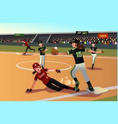 Women playing softball vector
